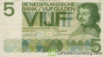 5 Dutch Guilders banknote (Vondel 1966)