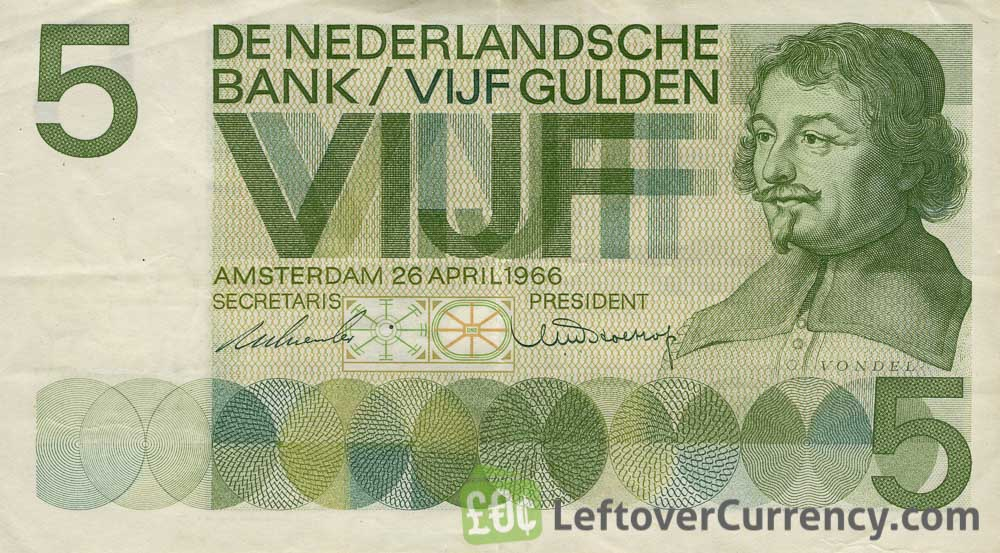 5 Dutch Guilders banknote (Vondel 1966)