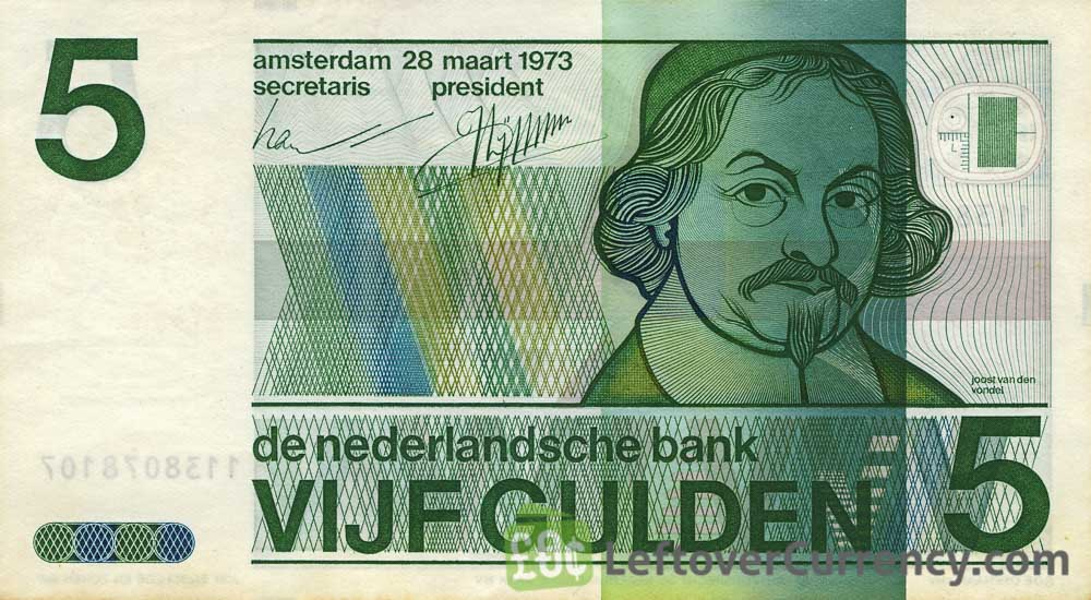 5 Dutch Guilders banknote (Vondel 1973)