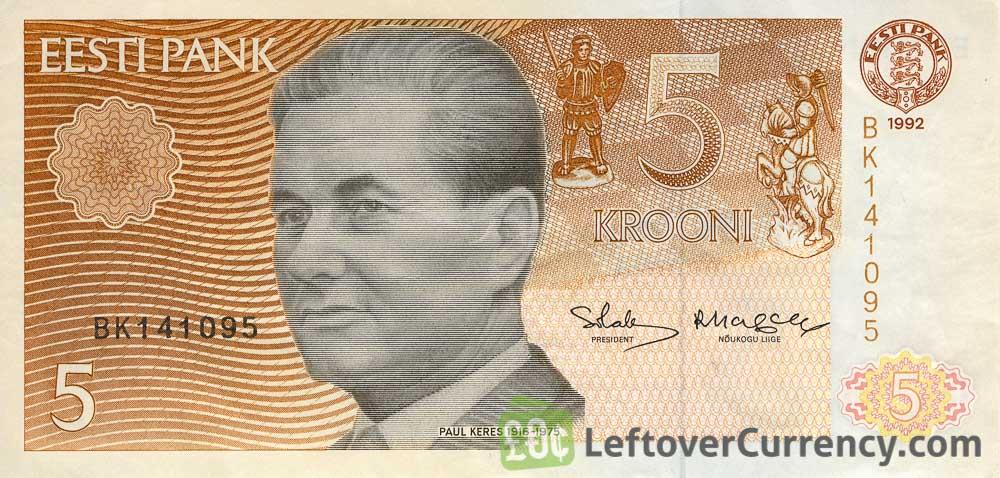 5 Estonian Krooni banknote (Paul Keres)