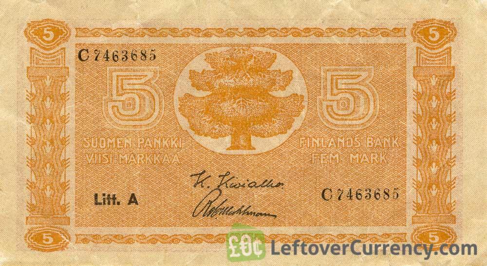 5 Finnish Markkaa banknote (1922)