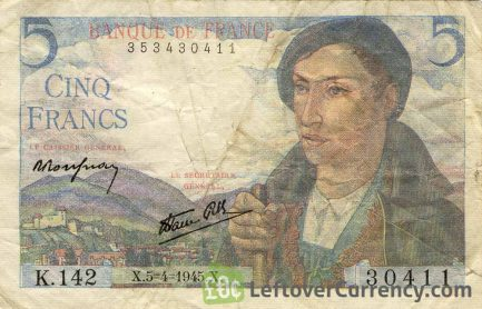 5 French Francs banknote Berger (shepherd)