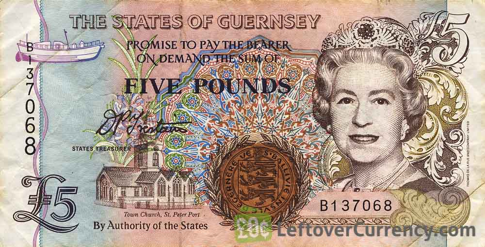 5 Guernsey Pounds banknote (St. Peter Port Town Church)