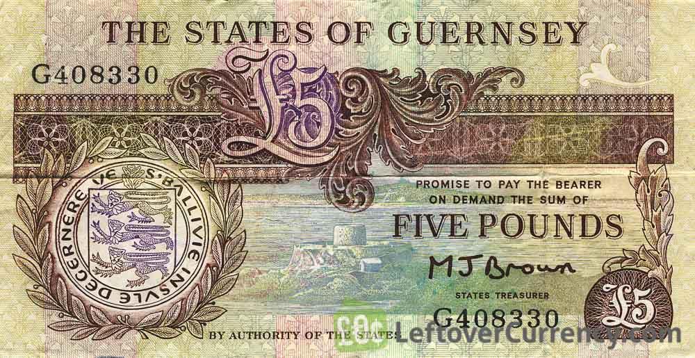 5 Guernsey Pounds banknote (Thomas De La Rue)