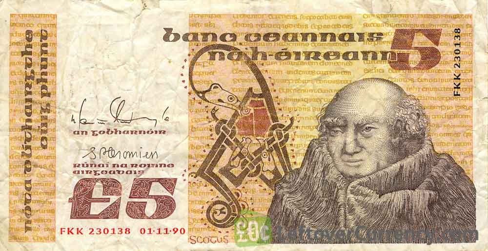 5 Irish Pounds banknote (John Scotus Eriugena)