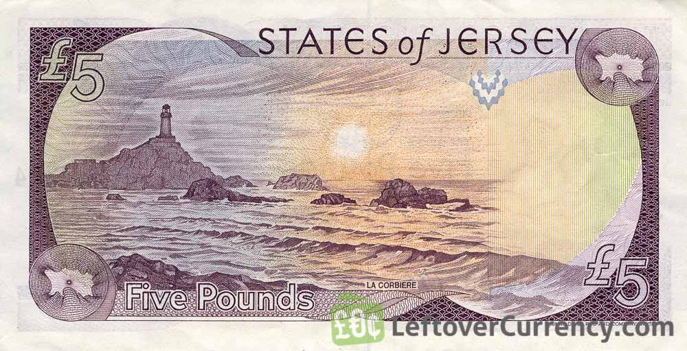 5 Jersey Pounds banknote (La Corbiere Lighthouse)