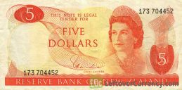 5 New Zealand Dollars banknote series 1967