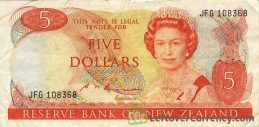 5 New Zealand Dollars banknote series 1981