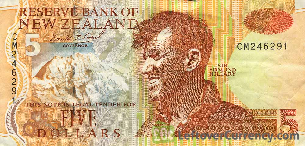 5 New Zealand Dollars banknote series 1992