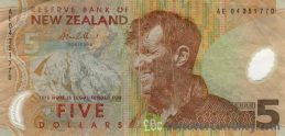 5 New Zealand Dollars banknote series 1999