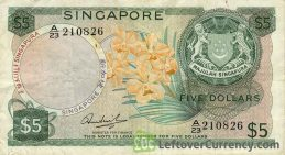 5 Singapore Dollars banknote (Orchids series)