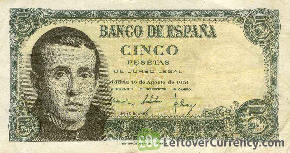 5 Spanish Pesetas banknote (Jaime Balmes)