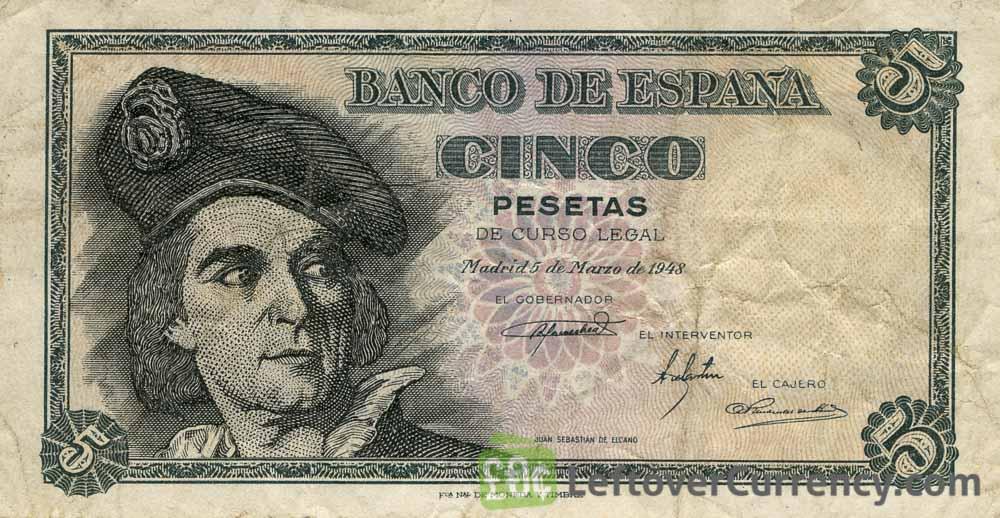 5 Spanish Pesetas banknote (Juan Sebastian Elcano)