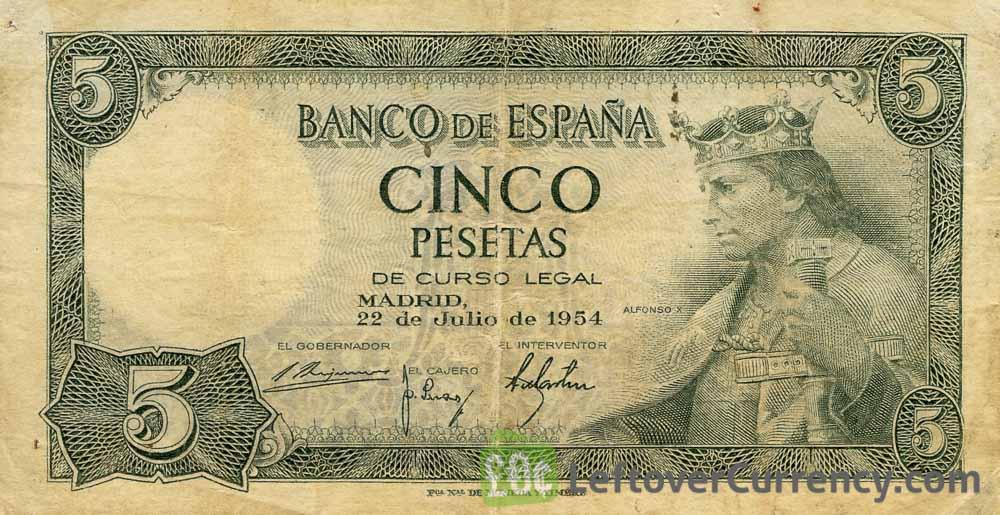 5 Spanish Pesetas banknote (King Alfonso X)