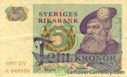 5 Swedish Kronor banknote (King Gustaf Vasa)