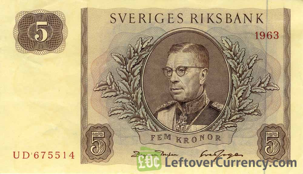 5 Swedish Kronor banknote (King Gustaf VI)