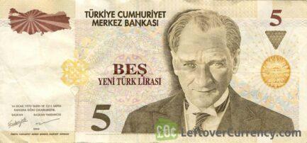 5 Turkish Lira banknote (8th emission group 2005)