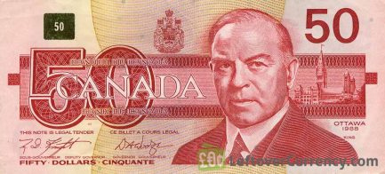 50 Canadian Dollars banknote series 1989 Birds of Canada