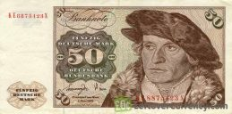 50 Deutsche Marks banknote (Holsten Tower Gate)
