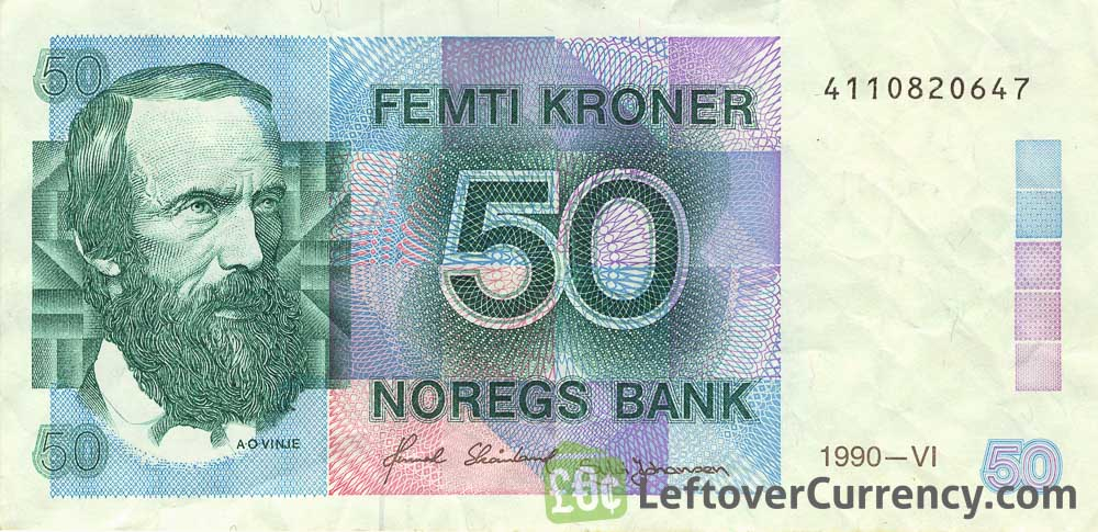 50 Norwegian Kroner banknote (Aasmund Olavsson Vinje)