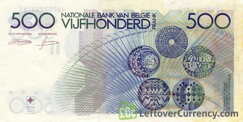 500 Belgian Francs banknote (Constantin Meunier)