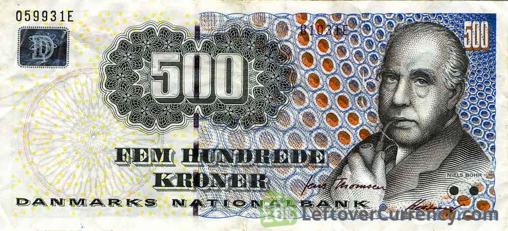 500 Danish Kroner banknote (Niels Henrik David Bohr)