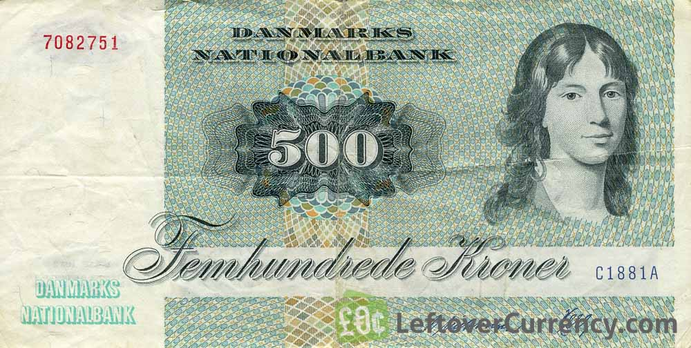 500 Danish Kroner banknote (Unknown Lady portrait)