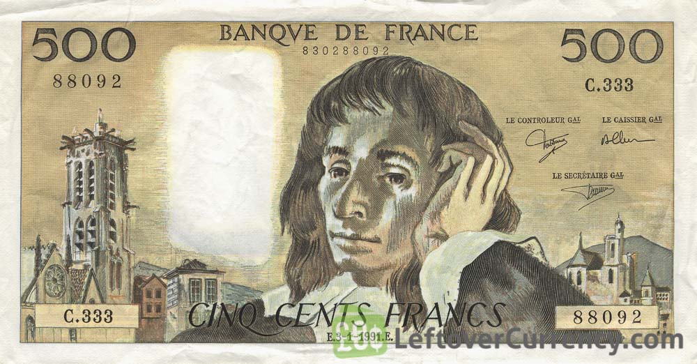 500 French Francs Banknote Blaise Pascal