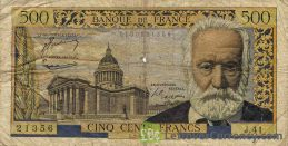 500 French Francs banknote (Victor Hugo)