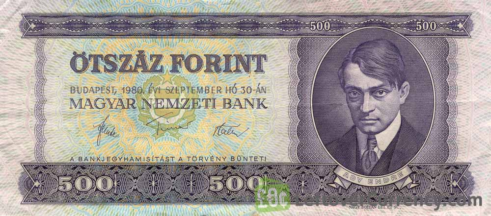 500 Hungarian Forints banknote (Endre Ady)