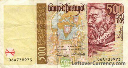 500 Portuguese Escudos banknote (Joao de Barros)