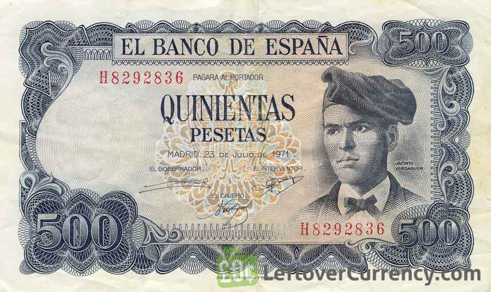 500 Spanish Pesetas banknote (Jacinto Verdaguer)