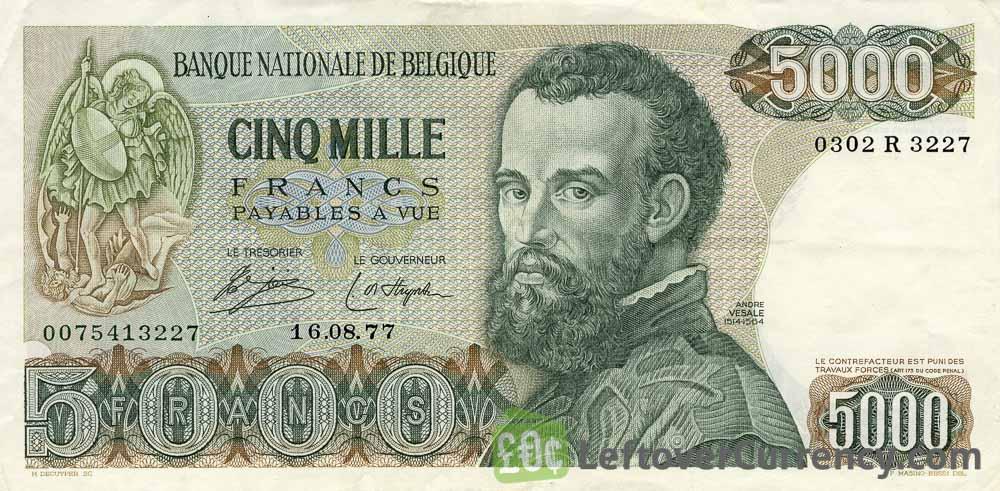 5000 Belgian Francs banknote (Andre Vesalius)