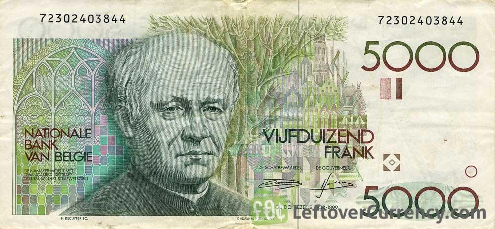 5000 Belgian Francs banknote (Guido Gezelle)