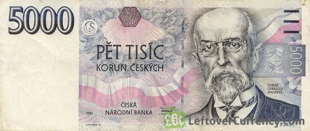 5000 Czech Koruna banknote series 1993