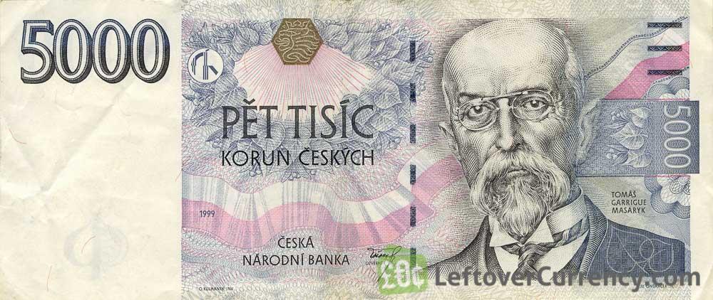 5000 Czech Koruna banknote series 1999