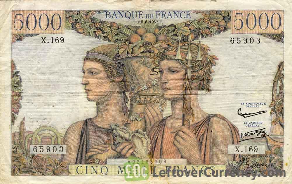 5000 French Francs banknote (Terre et Mer)