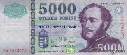 5000 Hungarian Forints banknote (Istvan Szechenyi's Home)