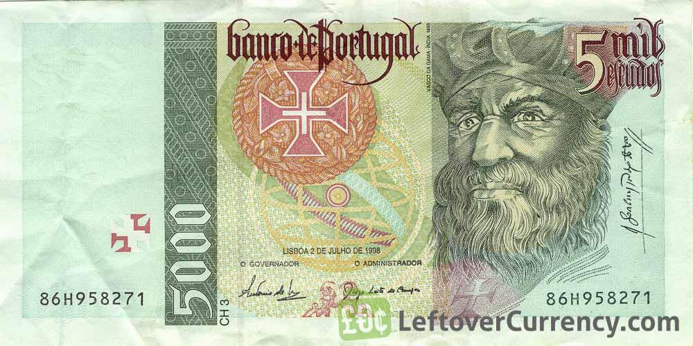 5000 Portuguese Escudos banknote (Vasco da Gama)