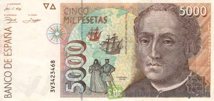 5000 Spanish Pesetas banknote (Christopher Columbus)