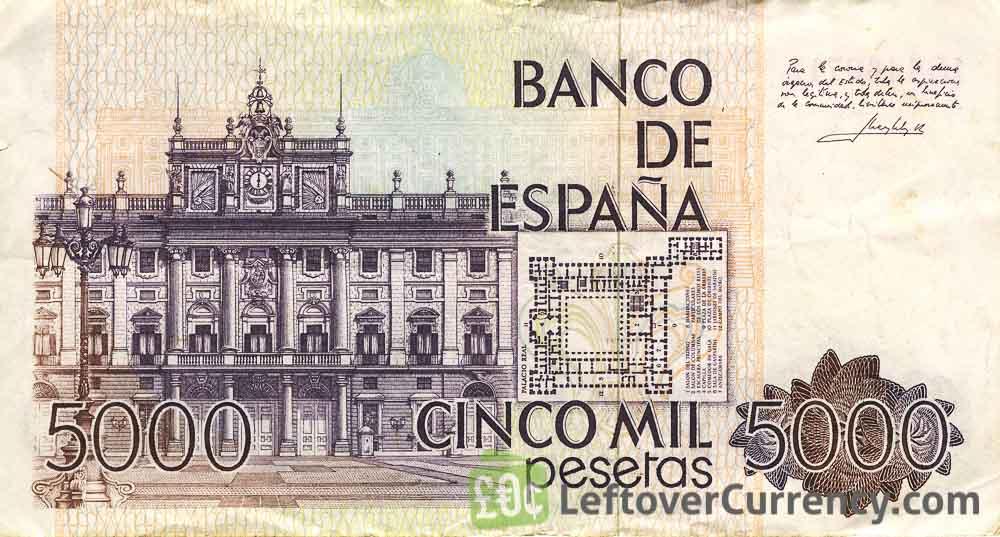 5000 Spanish Pesetas banknote (Juan Carlos I)