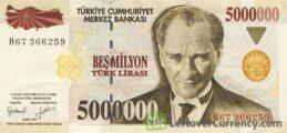 5000000 Turkish Old Lira banknote (7th emission group 1970)