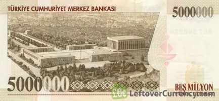 5000000 Turkish Old Lira banknote (7th emission group 1970)