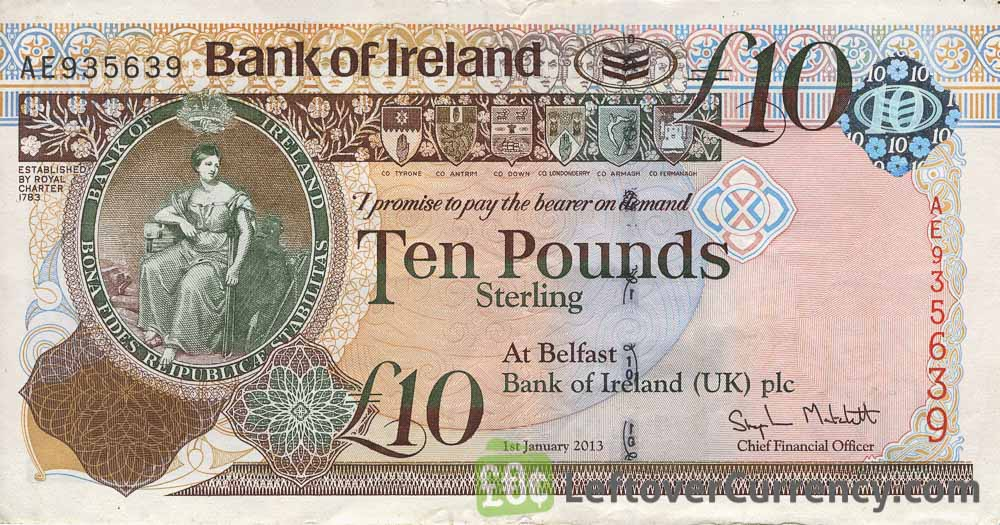 Bank of Ireland 10 Pounds banknote (Queen's University)