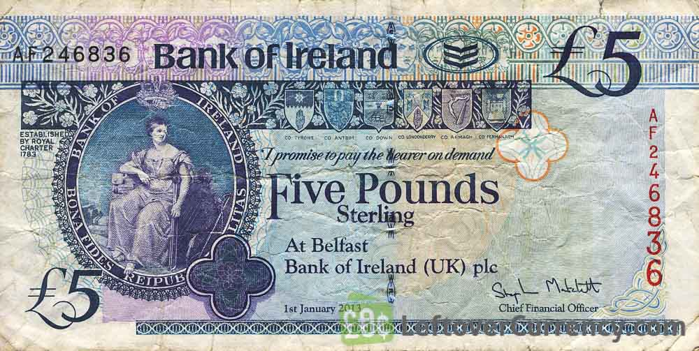 Bank of Ireland 5 Pounds banknote (Queen's University)