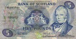 Bank of Scotland 5 Pounds banknote (1970-1994 series)