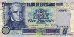 Bank of Scotland 5 Pounds banknote (1995-2006 series)