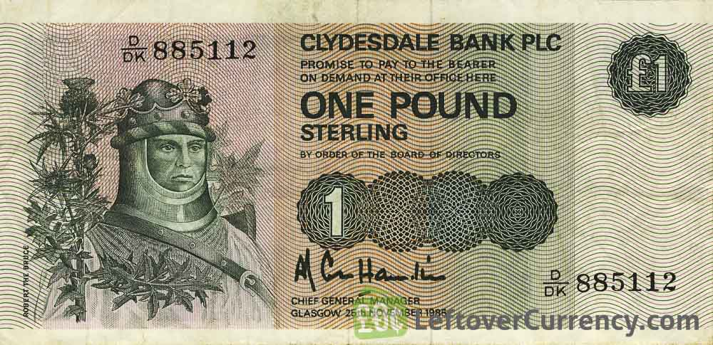 Clydesdale Bank 1 Pound banknote (1982-1988 series)