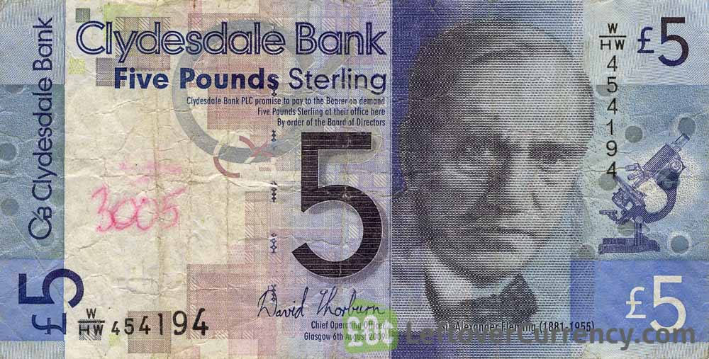 Clydesdale Bank 5 Pounds banknote