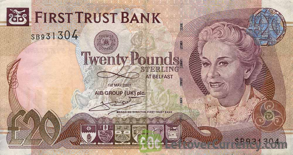 First Trust Bank 20 Pounds banknote (Mature lady)